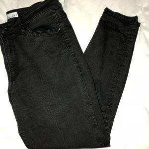 Loft High Waist Black Skinny Ankle Jeans